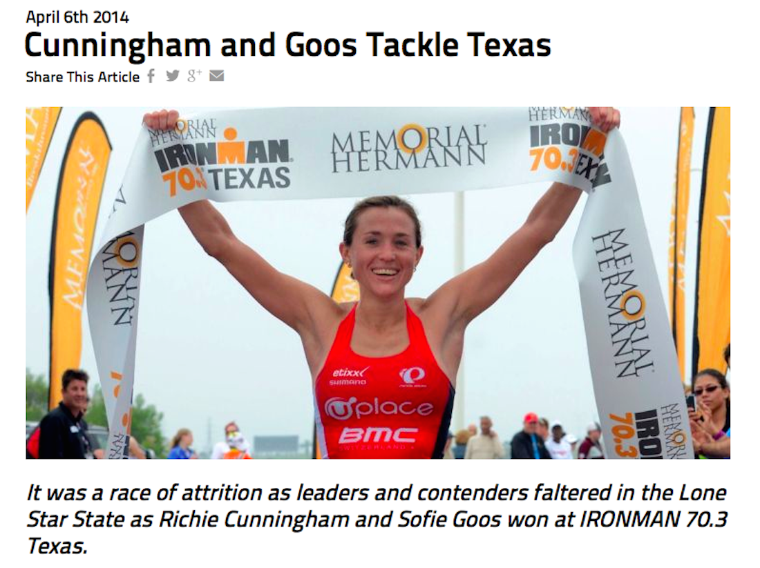 Sofie made Ironman.com headlines with her IM 70.3 Texas win
